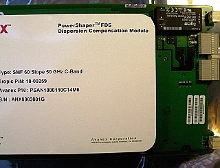 Avanex Powershaper FDS Dispersion Compensation Module (DCM) for 60km SMF in 1.55um C-band DWDW 50GHz-spacng, Type: SMF 60 Slope 50 GHz C-band.