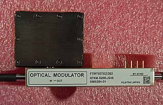 40Gb/s optical amplitude modulator, with modulator driver. 1530-1610nm. Ultra low drive voltage. Dual RF drive (GPPO ineterface). Modulator: Fujitsu model: FTM7937EZ/202; Opnext Assy P/N: 7000215-00