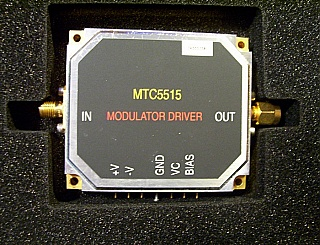 Multilink 10Gb Modulator Driver module, MTC5515. Samples are tested very wide band.